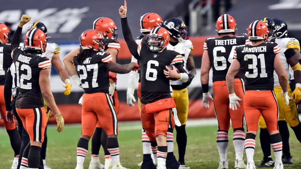 Cleveland Browns quarterback Baker Mayfield celebrates after the team defeated the Pittsburgh Steelers in an NFL football game, Sunday, Jan. 3, 2021, in Cleveland.