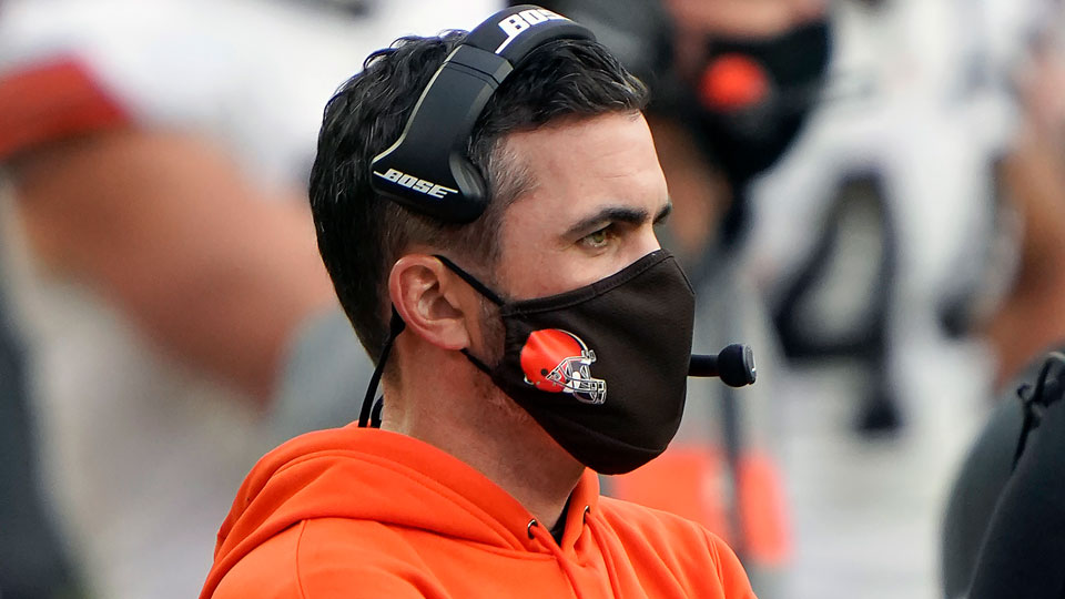 Cleveland Browns head coach Kevin Stefanski looks on from the sidelines during an NFL football game against the Pittsburgh Steelers, Sunday, Oct. 18, 2020