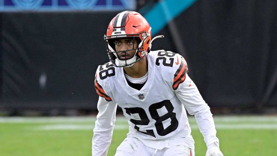 Cleveland Browns cornerback Kevin Johnson (28) follows a play during the second half of an NFL football game against the Jacksonville Jaguars, Sunday, Nov. 29, 2020, in Jacksonville, Fla.