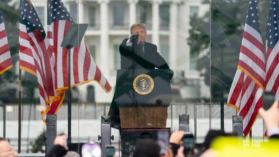 FILE - In this Jan. 6, 2021, file photo President Donald Trump speaks during a rally protesting the electoral college certification of Joe Biden as President in Washington.