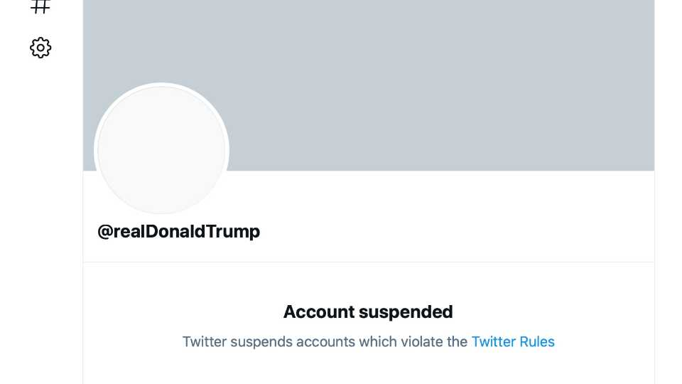 """This Friday, Jan. 8, 2021 image shows the suspended Twitter account of President Donald Trump. On Friday, the social media company permanently suspended Trump from its platform, citing """"risk of further incitement of violence."""""""