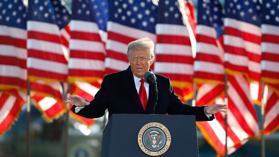 President Donald Trump speaks to crowd before boarding Air Force One at Andrews Air Force Base, Md., Wednesday, Jan. 20, 2021.