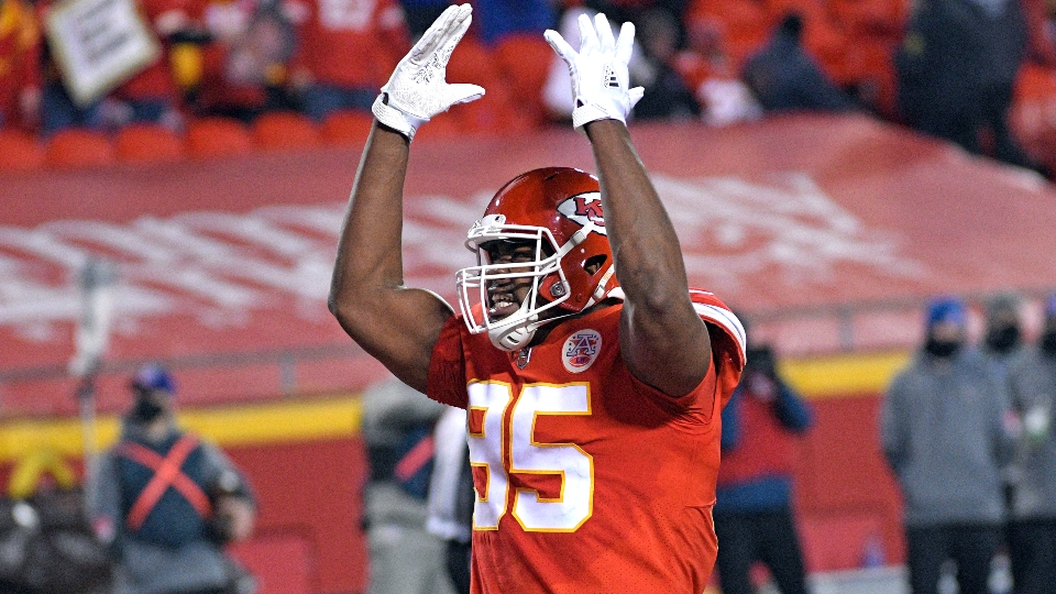 Kansas City Chiefs defensive tackle Chris Jones celebrates during the first half of the AFC championship NFL football game against the Buffalo Bills, Sunday, Jan. 24, 2021, in Kansas City, Mo.