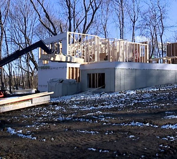 A construction crew was framing a house Thursday at the corner of South and Woodland Avenues in Youngstown. The home being built belongs to Youngstown Councilman Julius Oliver and his wife.