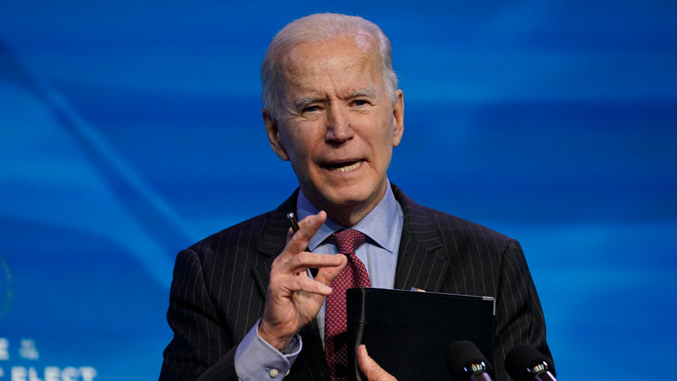 President-elect Joe Biden speaks during an event at The Queen theater in Wilmington