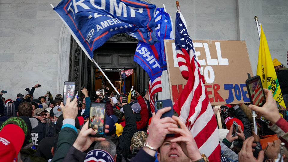 Trump supporters gather outside the Capitol, Wednesday, Jan. 6, 2021, in Washington