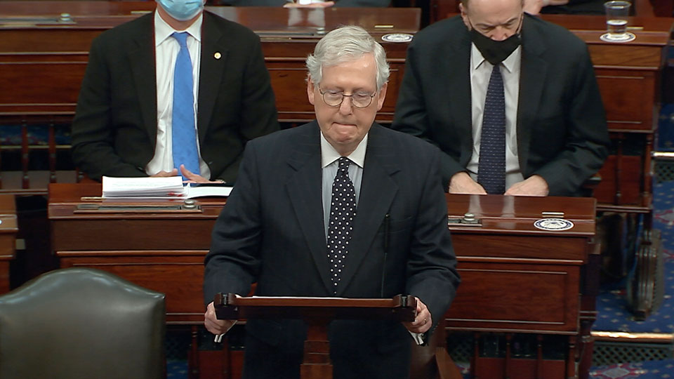 Senate Majority Leader Mitch McConnell of Ky., speaks as the Senate reconvenes after protesters stormed into the U.S. Capitol on Wednesday, Jan. 6, 2021