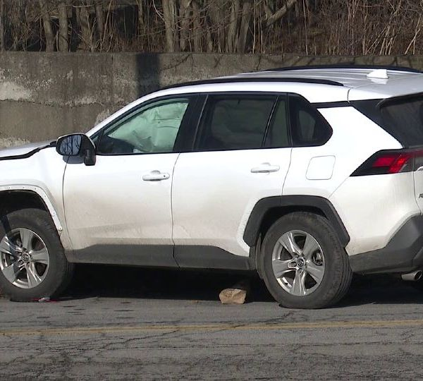 An SUV hit a utility pole in Youngstown Tuesday causing a small power outage.