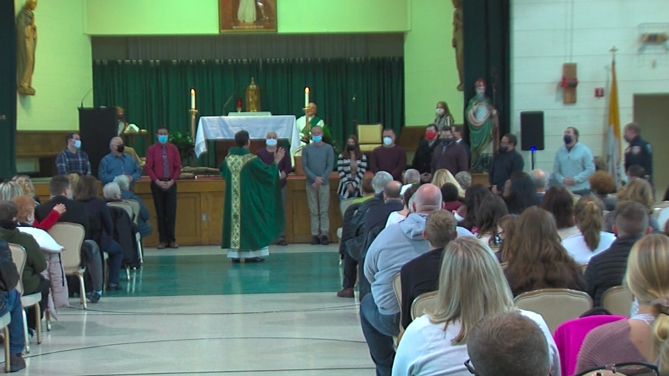 St. Pat's Church honors first responders after Monday's fire.