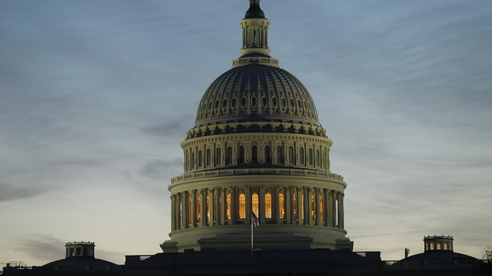 The U.S. Capitol is seen at dawn the morning after the midterm elections in Washington.
