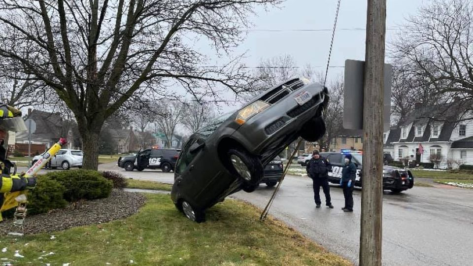 A driver lost control in Warren and drove her car onto a guy-wire of a utility pole.