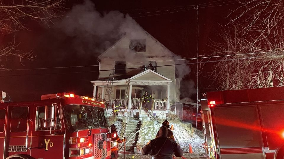 Crews are working to control a fire in Youngstown.