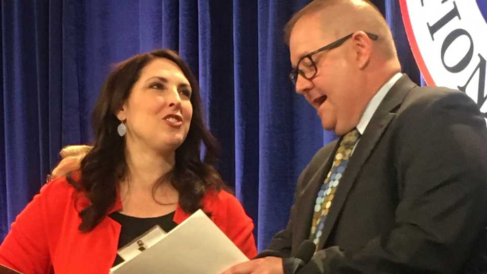 Republican National Committee Chairwoman Ronna Romney McDaniel, left, speaks with Bob Paduchik, party co-chairman of the Republican National Committee, at the spring meeting in Coronado, Calif., Friday, May 12, 2017. While Trump's abrupt firing of FBI Director James Comey roiled Washington, Republicans who attended the national committee's spring meeting outside San Diego this week defended the president's actions and insisted that it would have little political impact on midterm elections next year.