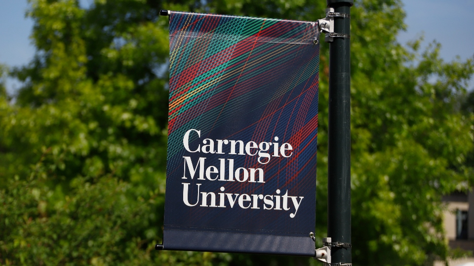 This is a sign on the Carnegie Mellon University campus in Pittsburgh Friday, June 7, 2019.