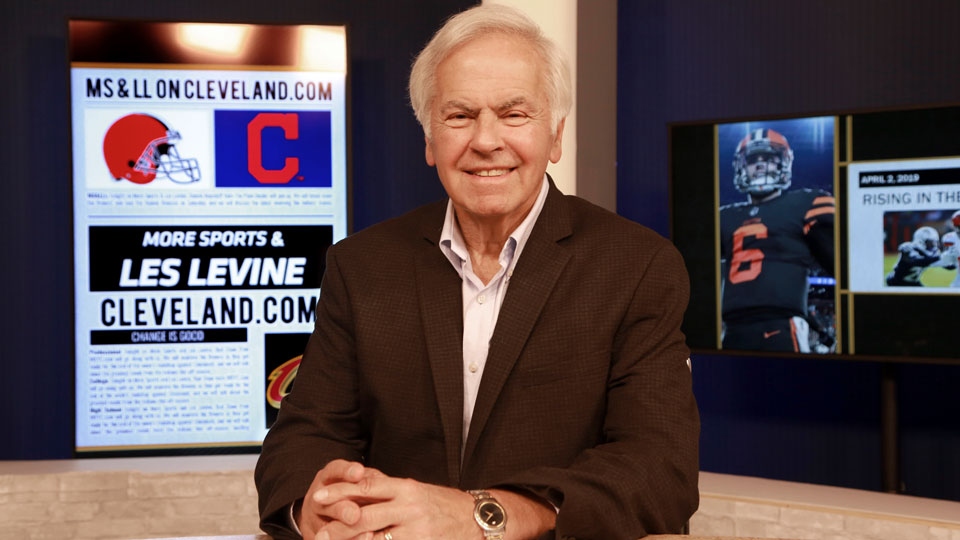 "Les Levine, in studio, prepares for his ""More Sports and Les Levine"" broadcast, April 2, 2019, in Twinsburg, Ohio"