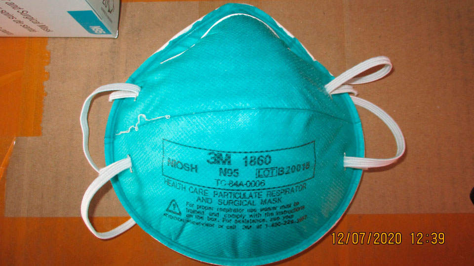 U.S. Immigration and Customs Enforcement (ICE) shows a counterfeit N95 surgical mask