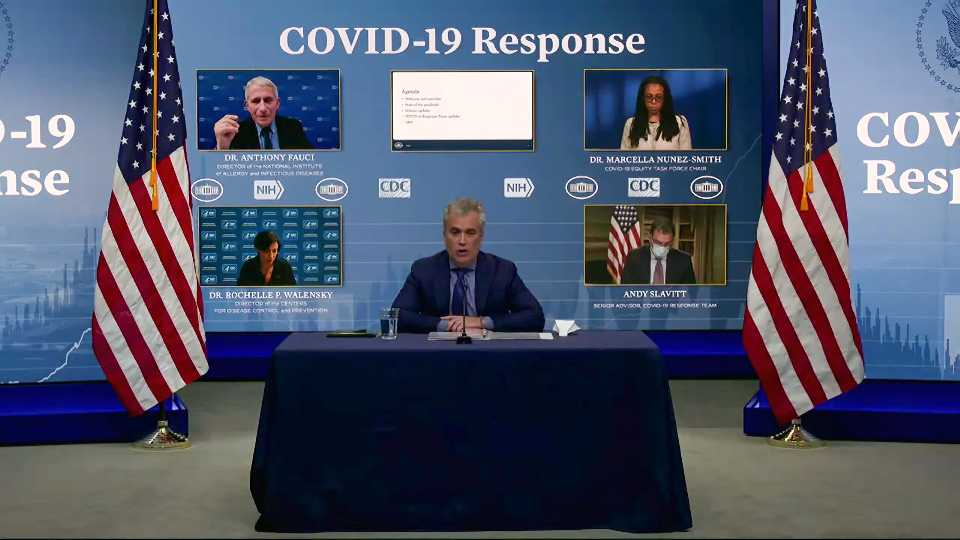 In this image from video, Jeff Zients, White House coronavirus response coordinator, speaks as Dr. Anthony Fauci, director of the National Institute of Allergy and Infectious Diseases and chief medical adviser to the president., Dr. Marcella Nunez-Smith, chair of the COVID-19 health equity task force, Dr. Rochelle Walensky, director of the Centers for Disease Control and Prevention, and Andy Slavitt, senior adviser to the White House COVID-19 Response Team,, appear on screen during a White House briefing on the Biden administration's response to the COVID-19 pandemic Wednesday, Jan. 27, 2021, in Washington.