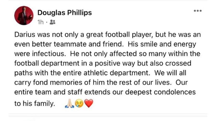 YSU head football coach Douglas Phillips tweet about loss of Darius Shackleford