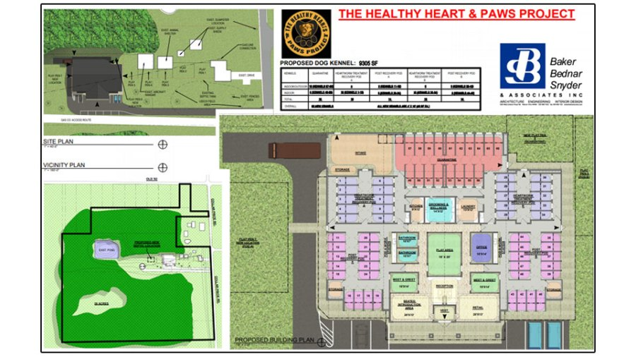 Plans for the Healthy Hearts and Paws Project new facility