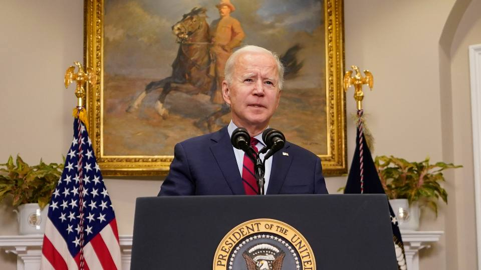 President Joe Biden speaks on the economy in the Roosevelt Room of the White House, Saturday, Feb. 27, 2021, in Washington.