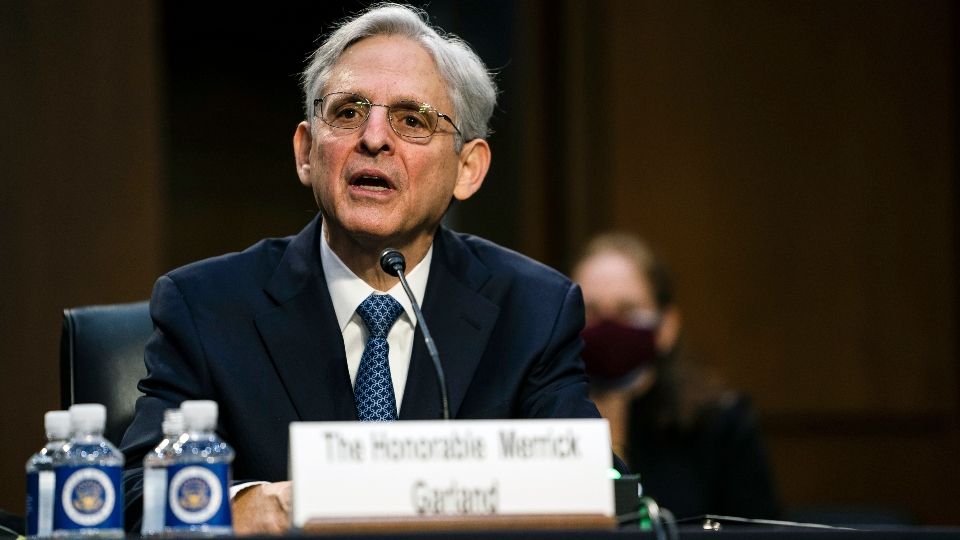 Judge Merrick Garland, nominee to be Attorney General, testifies at his confirmation hearing before the Senate Judiciary Committee, Monday, Feb. 22, 2021 on Capitol Hill in Washington.