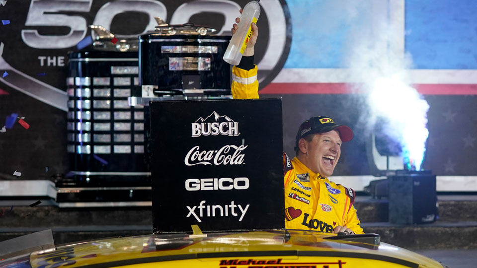 Michael McDowell celebrates after winning the NASCAR Daytona 500