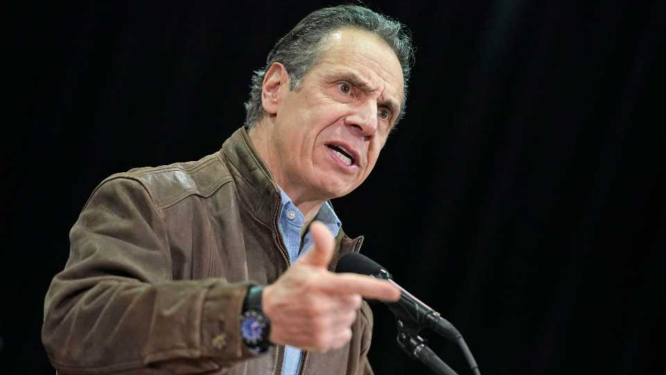 New York Gov. Andrew Cuomo speaks during a press conference before the opening of a mass COVID-19 vaccination site in the Queens borough of New York, Wednesday, Feb. 24, 2021. This FEMA run site, along with another in Brooklyn, gives priority to local residents in an effort to equitably distribute the vaccine.