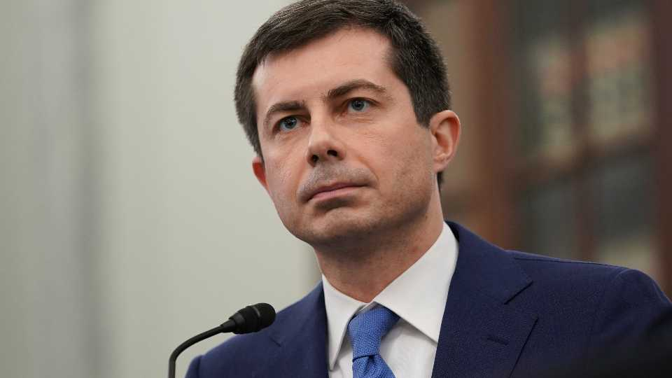 FILE - In this Jan. 21, 2021, file photo, Transportation Secretary nominee Pete Buttigieg speaks during a Senate Commerce, Science and Transportation Committee confirmation hearing on Capitol Hill in Washington