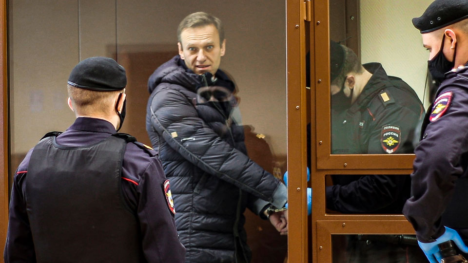 Babuskinsky District Court Tuesday, Feb. 16, 2021, Russian opposition leader Alexei Navalny, center