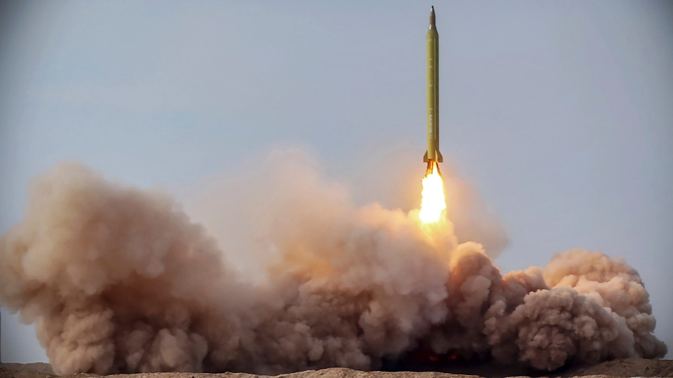 In this file photo released Jan. 16, 2021, by the Iranian Revolutionary Guard, a missile is launched in a drill in Iran.