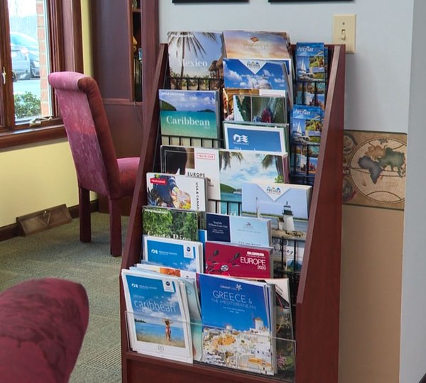 Vacation pamphlets at Executive Tour and Travel