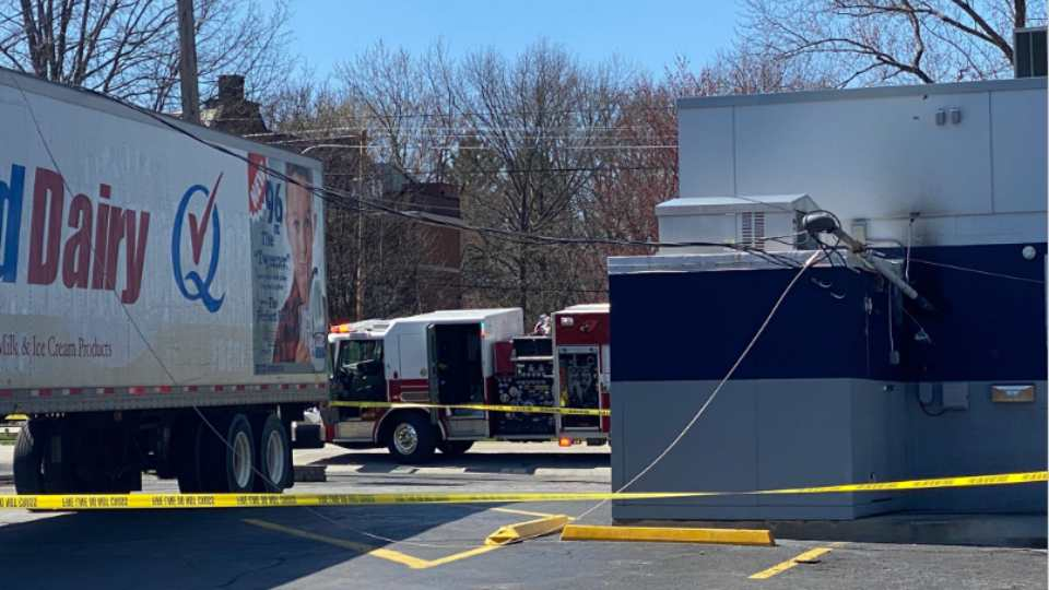 A South Broad Street Dairy Queen is closed after a delivery truck snagged some wires in the parking lot.
