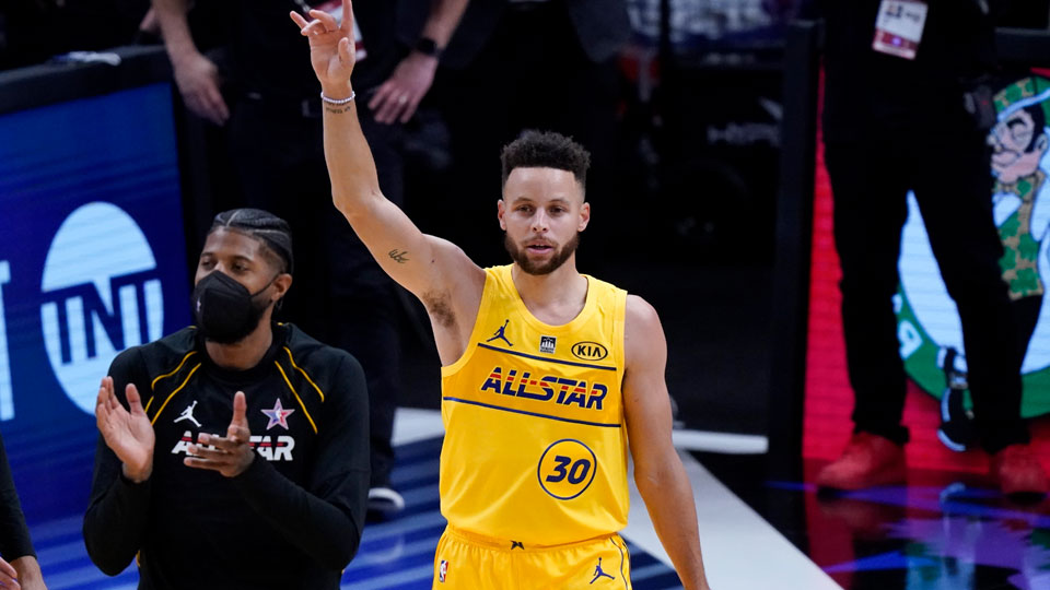 Golden State Warriors guard Stephen Curry celebrates after basketball's NBA All-Star Game in Atlanta
