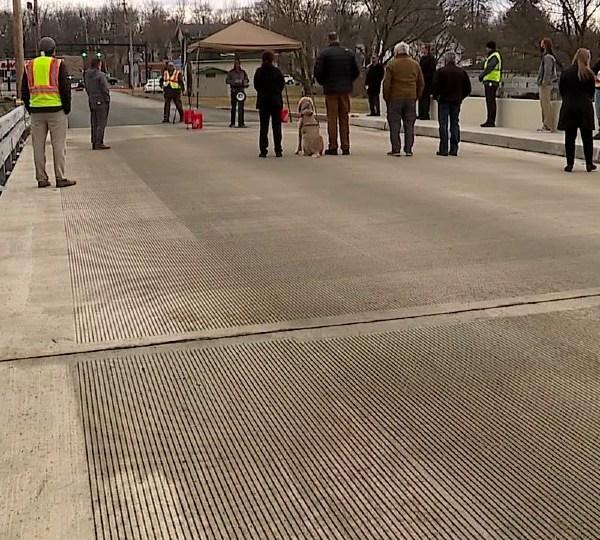 Myron Street Bridge ribbon cutting in Hubbard