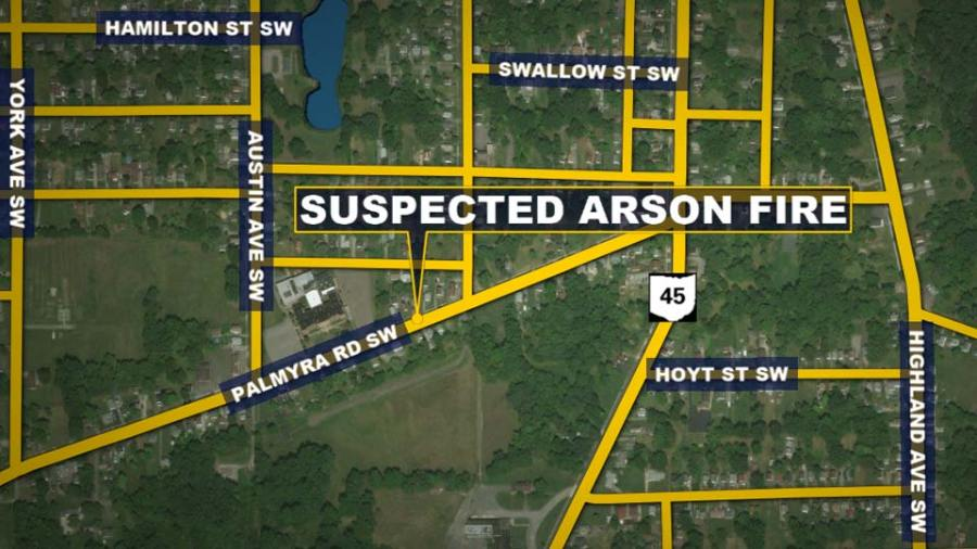Palmyra Road, Warren, Suspected Arson Fire Map