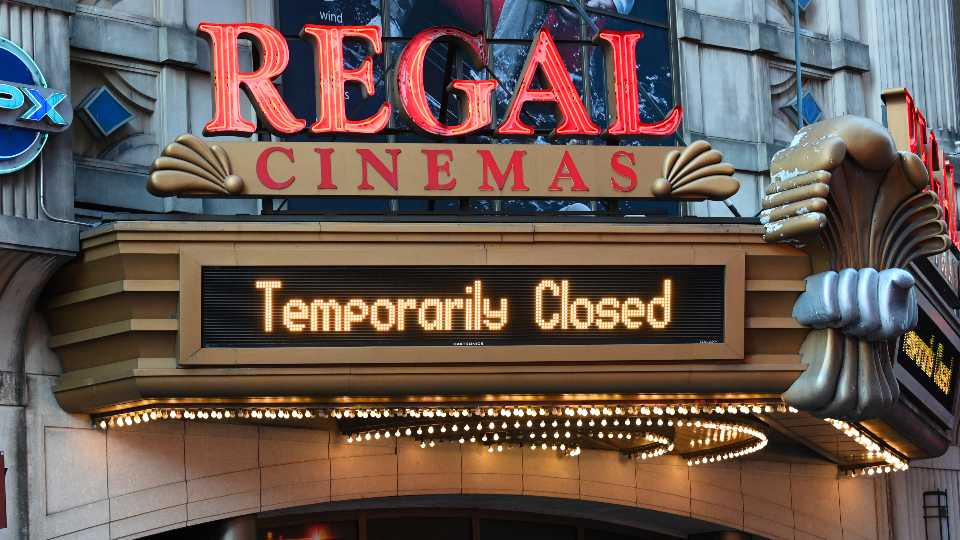 Regal Cinemas on 42nd Street is temporarily closed due to COVID-19 on March 5, 2021, in New York. Regal Cinemas, the second largest movie theater chain in the U.S., will reopen beginning April 2, its parent company, Cineworld Group, announced Tuesday.