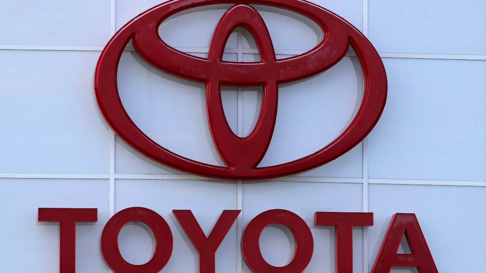 The Toyota logo on a dealership in Manchester, N.H., Thursday, Aug. 15, 2019.