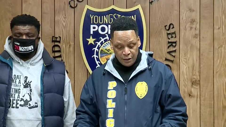 Youngtown Mayor Jamael Tito Brown and police Chief Carl Davis appealed for calm at an unusual Saturday afternoon press conference after two homicides in less than 24 hours.