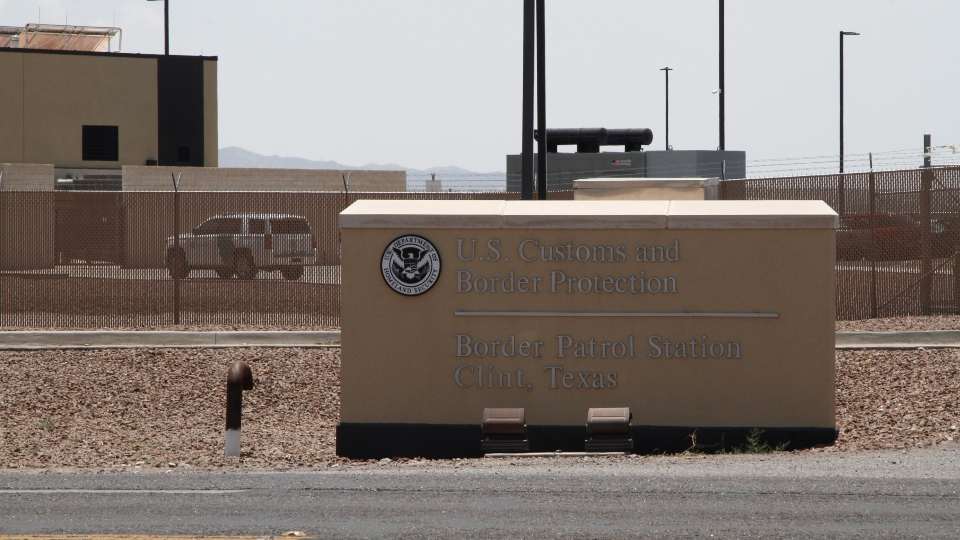 In this June 26, 2019, file photo, the entrance to the Border Patrol station in Clint, Texas.