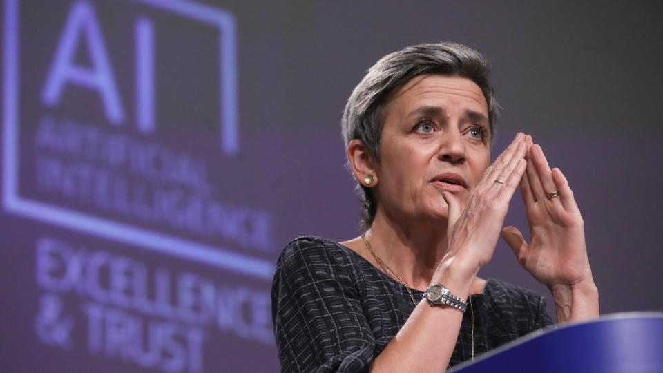 European Commissioner for Europe fit for the Digital Age Margrethe Vestager speaks during a media conference on an EU approach to artificial intelligence, following a weekly meeting of EU Commissioners, at EU headquarters in Brussels, Wednesday, April 21, 2021.
