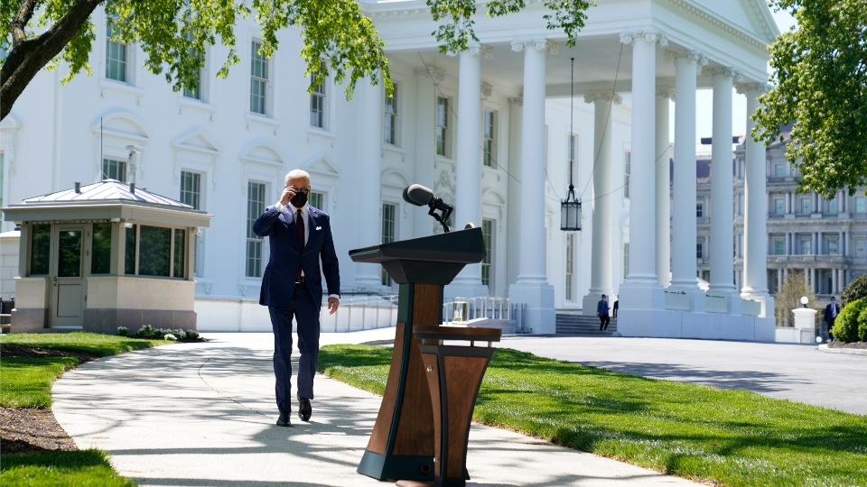 President Joe Biden arrives to speak about COVID-19, on the North Lawn of the White House, Tuesday, April 27, 2021, in Washington.