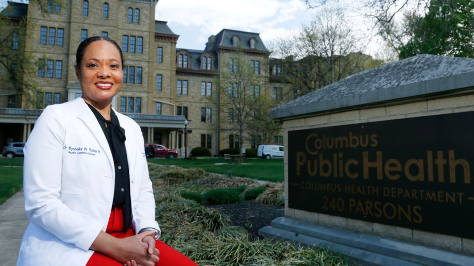 Dr. Mysheika W. Roberts, the health commissioner for Columbus Public Health, poses for a portrait in Columbus, Ohio, on Wednesday, April 14, 2021