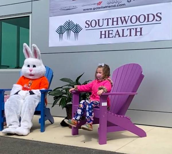 """The """"Jeepster"""" bunny made a trip to the Kufleitner dealership in Boardman Saturday."""