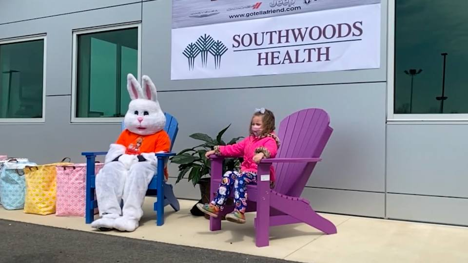 "The ""Jeepster"" bunny made a trip to the Kufleitner dealership in Boardman Saturday."