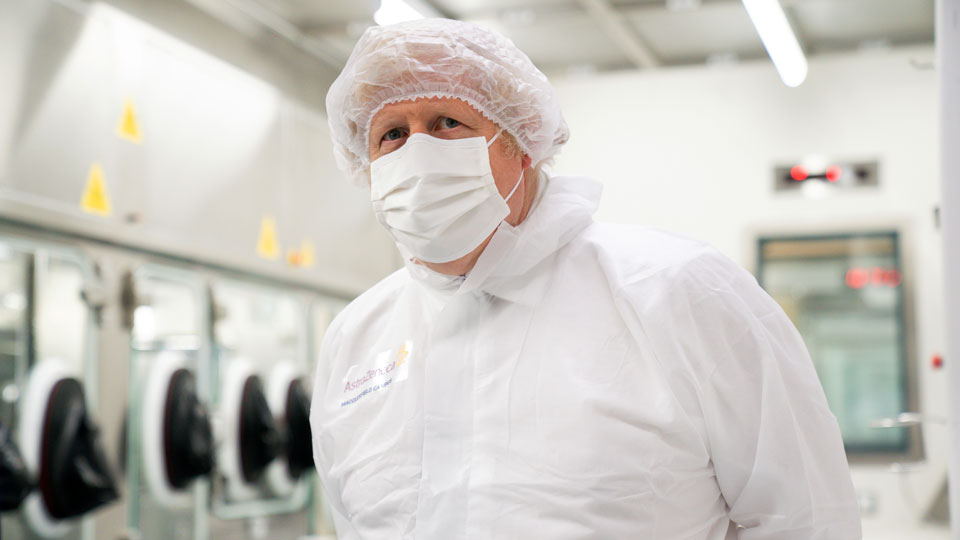 Britain's Prime Minister Boris Johnson during his visit to the AstraZeneca facility in Macclesfield, England, on Tuesday April 6, 2021
