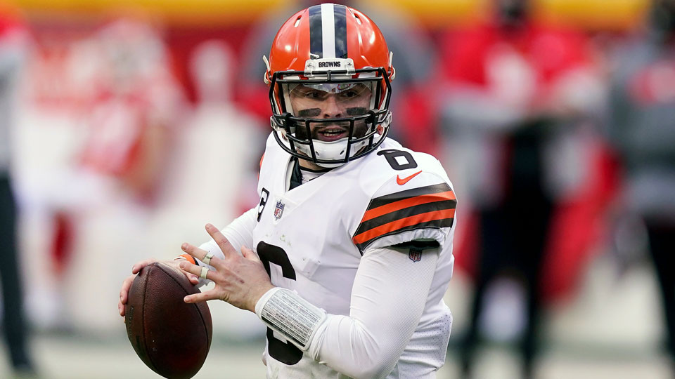 Cleveland Browns quarterback Baker Mayfield throws during the second half of an NFL divisional round football game