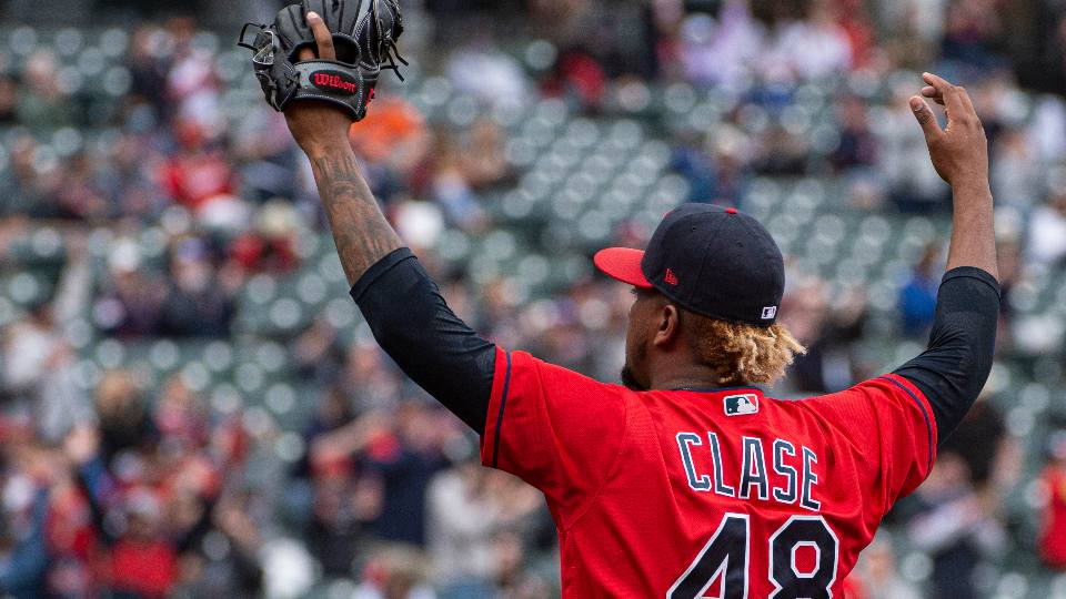 Cleveland Indians relief pitcher Emmanuel Clase celebrates after a win over the Detroit Tigers in a baseball game in Cleveland, Sunday, April 11, 2021.