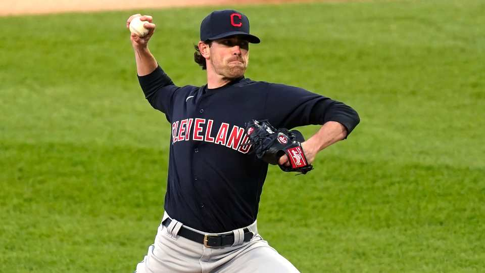 Cleveland Indians starting pitcher Shane Bieber delivers during the first inning of the team's baseball game against the Chicago White Sox on Friday, April 30, 2021, in Chicago.