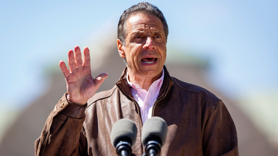 New York Gov. Andrew Cuomo speaks during a news conference, Monday, April 26, 2021 at the New York State Fair Grounds in Syracuse, N.Y.