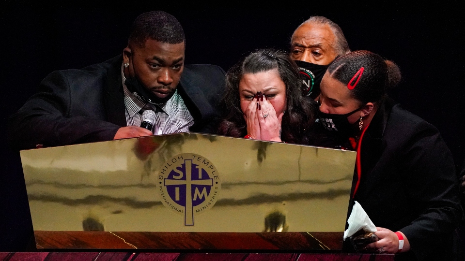 Katie and Aubrey Wright, parents of Daunte Wright, cry as the speak during funeral services of Daunte Wright at Shiloh Temple International Ministries in Minneapolis, Thursday, April 22, 2021.